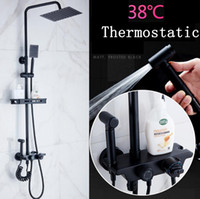 Wholesale temperature set shower faucet for sale - Group buy New Black Shower Set Rainy Temperature Washing Sprinkler with Rack High Quality Multi function In wall Shower Set