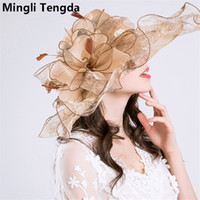 Wholesale elegant hats for wedding - Hight Quality Organza and Fascinator Wedding Hats for Women Elegant Exaggeration Weddings Flower Hats chapeau de mariage Wedding Accessories