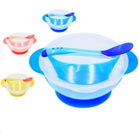 Wholesale utensil resale online - Baby Tableware Set Suction Bowl with Temperature Sensing Spoon Kid BPA Free Dinnerware Dishes Spoon Childern Feeding Utensils