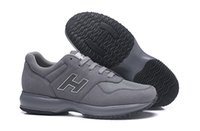 Wholesale genuine leather online for sale - Group buy 2019 New Sale Interactive shoes men sale Italia Online Men Leather Leisures Good Scarpes New come Grey male height Casual Trainers epacket