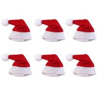 árboles para la decoración de la boda al por mayor-Sombrero Mini Navidad Sombrero de Papá Noel Xmas Lollipop Sombrero Mini Regalo de Boda Gorras Creativas Árbol de Navidad Ornamento Decoración