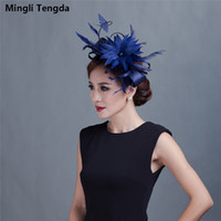 Wholesale woman elegant hair accessories - Mingli Tengda Elegant Fascinators Wedding Black Hats Linen Feather Wedding Hat Women Hair Accessories Stylish For Wedding Party Bridal Hats