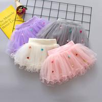 gazlı bez dans kostümleri toptan satış-Çocuklar için 4 Renkler Yaz Çiçekler Gazlı Bez etek Çocuk Kısa Parti Dans Etek Bebek Kız TUTU Etekler Prenses Parti Kostümleri