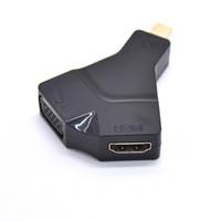 interface de video vga venda por atacado-Conversor de vídeo portátil Mini DP para HDMI e VGA HD para dispositivos com interface MINI DP