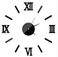 dijital saat numaraları toptan satış-YENI Roma Dijital Numarası duvar saati diy 3d ayna Sessiz Saat Akrilik Kısa Sessiz DIY duvar saati modern tasarım Toptan