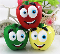 Wholesale Pepper Fruit - Vegetable Squishies Chilli Squishy Pepper Jumbo Slow Rising Fruit Squeeze Green Toy Simulation Chili DHL Free Shipping