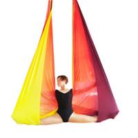 yoga swing оптовых-Wellsem антигравитации воздушной йога гамак ткань летающие йога качели воздушной тяги устройство фитнес ремни для спортивных новейших
