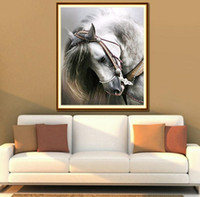 decoração cavalo branco venda por atacado-Pintura em animais meditação cavalo branco pintura em casa DIY 5D pintura diamante conjunto de diamante decoração da sala de Mosaico