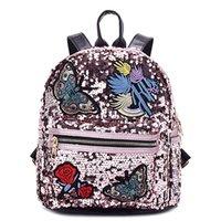 kızlar kelebek çanta toptan satış-Kızlar Sequins Kelebek Gül Çiçek Sırt Çantası Kadın Omuz Çantası Okul Çantaları Çanta Satchel Çanta Sevimli Bling Sırt Çantaları