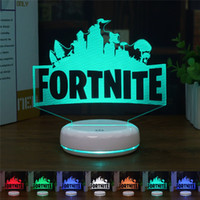 Wholesale Fortnite D Table Lamp RGB Changeable Mood Lamp Color Light Crack Pattern Base Cool Night Light Gift