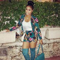 blazer toptan satış-Moda Yaz Kadın Iki Parçalı Kıyafetler Blazers Üst Ve şort ile Iki Parçalı Eşofman Boyut S-XL