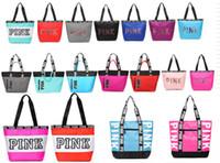 ingrosso ragazze di viaggio-Rosa lettera borse donne ragazze giovani borse a tracolla amore rosa impermeabile ragazze shopping bag borsa borse da viaggio borsa da viaggio segreto spiaggia