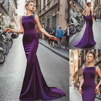 robe bleue abordable achat en gros de-Robes de bal sirène de bal arabe arabe appliques col haut sirène cru manches longues sexy haute cuisse fendue noir filles robes de soirée 384