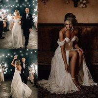 Wholesale wedding dresses slits up side resale online - Off Shoulder A Line Beach Wedding Dresses Thigh High Slits Boho Bridal Dresses Plus Size Custom Made Zipper Up Back Wedding Gowns For Brides