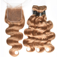 Wholesale unprocessed honey - Honey Blonde Brazilian Body Wave With 4X4 Lace Closure 9A Unprocessed Brazilian Virgin Hair Body Wave With Closure 27# Brazilian Human Hair