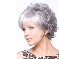 Wholesale wig silver grey short - 10 Inches Fashion Mother's Wig Cosplay Party Wig for Women Stylish Natural Silver Grey Wigs with Bangs Synthetic Short Hair