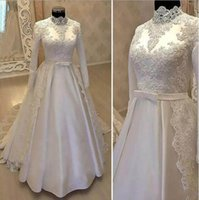 Wholesale Black Satin Bow Belt - Vintage High Neck Muslim Wedding Dresses 2018 With Long Sleeve Lace Overskirts Satin Country Bridal Gowns With Belt
