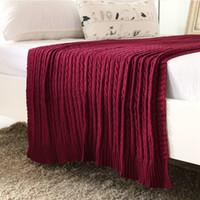 красное хлопковое одеяло оптовых-Красное вино цвет весна / осень лето 100% хлопок трикотажное одеяло для взрослых одеяло диван Cobertor 110 * 180см