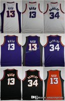 Wholesale Rugby Names - Retro Jerseys 34 Charles Barkley 13 Steve Nash Throwback Orange Purple White Black Stitched Shirts With Player Name Size S-3XL
