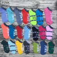 les sous-vêtements les plus courts des filles achat en gros de-Pink Letter Socks Pink Anklet Sport Bonneterie Coton De Mode Chaussettes Courtes Slipper Girl Sexy Love Chaussettes De Navire Rose D'été Sous-vêtements