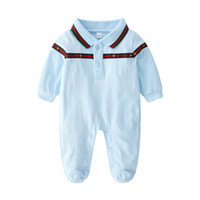 Wholesale newborn baby boys clothing online - Baby Rompers Body suits Cover Newborn boys girls one pieces Clothes Solid color printed baby spring and autumn long sleeves sleepsuits ropa