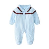 trajes de cuerpo de niños al por mayor-Mamelucos de bebé Trajes de cuerpo Recién nacido Niñas niños de una sola pieza Ropa de color sólido estampado bebé de primavera y otoño de manga larga trajes de dormir ropa