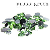 Wholesale Grass Art - Grass green Color Glue On Resin Rhinestones 2-6mm Round Flatback Non Hotfix Crystals And Stones DIY Nails Art Phone Cases