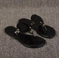 Wholesale Silver Shiny Heels - 2018 Black flip-flops shiny patent Genuine Leather Brand New Women Thong Sandals Summer Women Famous Flip Fllops