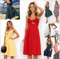 Wholesale blue suspender skirt - Women girls Sexy V-neck Bow Backless dress Polka Dot Print flower Summer Beach Dresses Boho Cotton Buttons Off Shoulder Midi Skirts sale