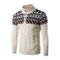 nuevas camisetas de marca al por mayor-Nueva marca de moda suéter de manga larga jersey con cuello alto jerseys delgados estilo étnico patrón suéteres