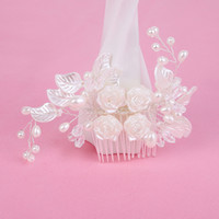 Wholesale Jade Barrette - Bridal jewelry hair comb handmade pearl crystal hair accessories wedding dress