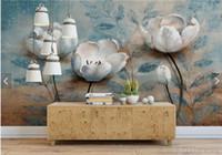 mural arts flor venda por atacado-Papel de parede floral europeu Vintage Mural em relevo azul flor foto papéis de parede para sala de estar papel de parede papel de parede madeira