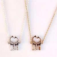 Wholesale Giraffe Gold - 12pcs lot Love Giraffe Necklace in Gold or Silver Twin Giraffe Pendant Everyday Strand Necklace
