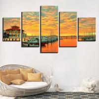 ingrosso pittura cielo rosso-Decorazioni per la casa 5 pezzi Sunset Red Sky Cloud Harbor Malaysia Yacht Boat Immagini Modulare Wall Art Poster Tela Canvas Print Painting