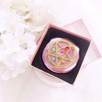 ingrosso luna specchio-Sailor Moon Crystal Pink Metal Mirror Mirror Case Moonlight Memory Series Women Girls Cosplay Cosmetic Make up Mirror + Box