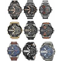 reloj deportivo dz al por mayor-Múltiples zonas horarias Reloj de pulsera Montre luxe Reloj militar Correa de cuero 53 MM Dial grande Reloj de acero inoxidable DZ para hombres Reloj deportivo