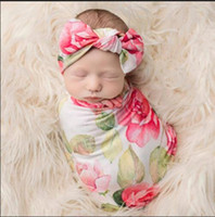 Wholesale robes blankets wholesale online - Newborn Baby Swaddling Blankets with Bunny Ear Headbands Baby Floral Swaddle Wrap Blanket Hairbands Baby Cotton wrap cloth Set BHB64
