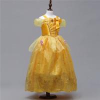 traje amarillo de juego de rol al por mayor-Vestido para niños Nuevo Día de los niños Ropa de rendimiento Vestido de princesa amarillo Vestido de rendimiento Juego de rol Disfraces