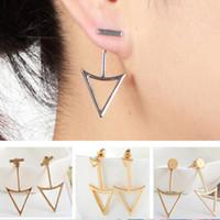 Wholesale triangle shaped jewelry - Fashion T Shape Bar with Triangle Arrow Stud Earrings Women Summer Round Geometric Ear Jacket Earings Jewelry Gifts EJ007