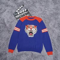 Wholesale tiger knit sweater - Knitted Sweater Men Fashion tiger head embroidery Slim Fit Long sleeve 2018 Spring Winter Spring New Striped Pullover