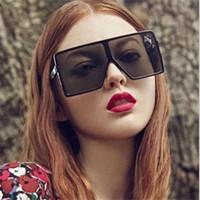 Wholesale Cheap Fashion Sunglasses Women - Trendy Oversized Square Sunglasses Women's Fashion Slope Square Flat Top Men's Sunglasses Cool Retro Mirror Black Cheap Sunglasses