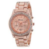 часы из розового золота для дам оптовых- Rose Gold Women's Watches Faux Chronograph Quartz Plated Classic Round Ladies Women Crystals Watch Saat Dropshipping