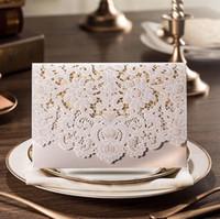 ingrosso carta di lusso-Carta di invito matrimonio vintage taglio laser bianco e rosso con busta partito Carta di invito di lusso elegante carta