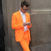 яркие люди костюм оптовых-Fashion Bright Orange Color Men Suit Slim Fit Men Suits One Button Casual Workoffice Blazer Party Party Tuxedos Jacket Pants226