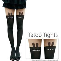 calças impressas tatuadas venda por atacado-BONITO ANIMAL TATTOO TIGHTS - 60D Japão Kawaii Sexy Parte Rabo Falsificação Impressão Na Altura Do Joelho Coxa Alta Meias Meias Meia-calça