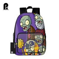 pflanze gegen zombies rucksack großhandel-Student Schoolbag Hot Game Pflanzen VS Zombie Print Rucksack für Teenager Jungen und Mädchen Orthopädische Cartoon Rucksäcke Schultaschen
