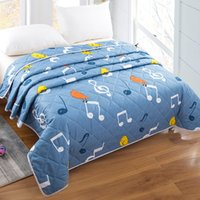 Wholesale aqua print comforter - New Summer Cool Comforters Printing Air Condition Quilt Machine Washable Cotton Summer And Autumn Covers Cheap Wholesale