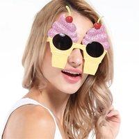 ingrosso notte unica-Forma di gelato alla ciliegia Rosa Occhiali divertenti Design creativo Occhiali da sole carini Per la festa notturna in discoteca Masquerade Unique Cheer Up Mask 8 5sf Z