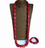 collar de la naturaleza rojo al por mayor-4UJewelry Nigerian Nature Coral Beads Necklace Jewelry Set Rojo o Naranja 12 mm Joyería de la boda Set Joyería nupcial Envío gratis