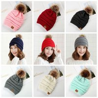 Wholesale wholesale pom winter hat - CC Trendy Hats 11 Colors Winter Knitted Poms Beanie Cable Slouchy Skull Caps Unisex Beanie Outdoor Hats Without Fleece 200pcs OOA4401